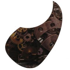 """Steam punk inspired acoustic pickguard. Measures 3 7/8"""" x 7"""" x .035 thick, which fits most popular style guitar models. This pick guard is made of scratch resistant material and has a bubble free adhesive on the back , for seamless installation."""