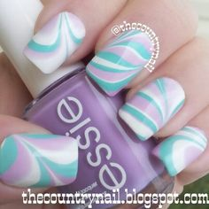 Malibu Watermarble #nailart #manicure #nails #whitenails #essie #purple #lavender #lilac  #marblenails - bellashoot.com