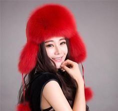 Women s Winter Warm Hat New Real Genuine Fox Furs Ear Flaps Bomber Russian  Ushanka Cossack Trapper Furry Ski Aviator Beanie Cap 490ccfae5e7f