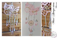 Maxi Attrape-rêves Papier. (environ 60cm de hauteur) Découpe laser et assemblage main. Licorne, Papillon, Mandala, Plume. Personnalisation et couleurs au choix