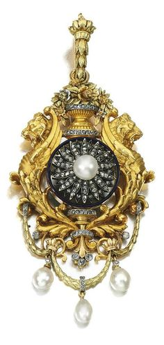 Natural pearl and diamond pendant, 19th Century Composite. Of giardinetto and swag design with two mythical griffins, the centre set with a later added flower jewel, highlighted with dark blue enamel, natural pearls and rose diamonds, pendant fitting detachable.