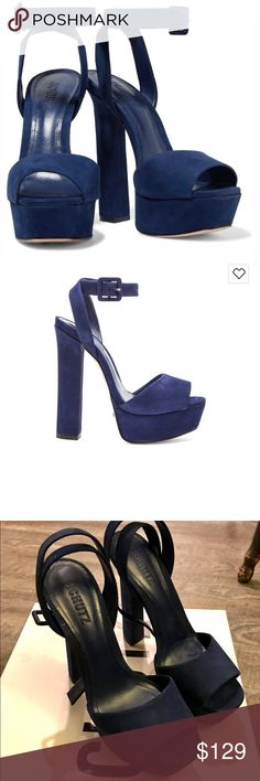 """Schutz Amatista Heels in Dress Blue size 9 $200 Brand New in Box! Schutz. Size 9. Dress Blue Suede. 6"""" heel (1"""" of platform) buckle closure. $200 SCHUTZ Shoes Heels"""