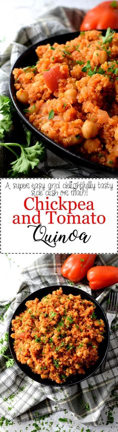 Chickpea and Tomato Quinoa - A thick and wholesome dish consisting of health-conscious quinoa, chickpeas, and tomatoes. Chickpea and Tomato Quinoa is a vegetarian option that's both filling and hearty.