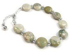 Gemstone Bracelet - Peace Jade Coin Sterling Silver Jewelry, Gemstone Jewelry, Jade, Pearl Necklace, Coins, Quartz, Beaded Bracelets, Gemstones, Jewellery