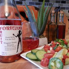 April 6, 2015 - Wagner Estate Winery Forbidden Fruit with Cucumber, Tomato & Avocado Salad. http://www.essexcountywineries.ca/wines/2015/20150405.htm
