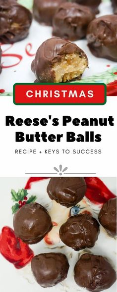 Reese's Peanut Butter Balls are like eating a Reese's Peanut Butter Cup, only better. These delicious little morsels have a velvety peanut butter center covered by a layer of rich chocolate. If you like Reese's Cups, you'll love these! | Homemade Peanut Butter Balls Recipe | Buckeyes recipe | Chocolate Almond Bark | #PeanutButter #Reeses #Chocolate #Candy #Christmas #Recipes Peanut Butter Balls, Reeses Peanut Butter, Peanut Butter Recipes, Best Peanut Butter Cookies, Homemade Peanut Butter, Natural Peanut Butter, Chocolate Caramel Slice, Chocolate Recipes, Chocolate Meringue Pie