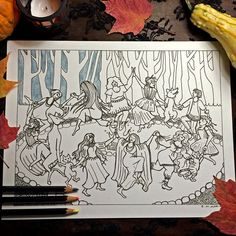 Print at Home Adult Coloring Page   Witches' Dance by EvvieMarin