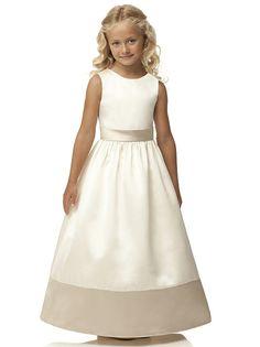 Jewel neck sleeveless dress w/full skirt. Sash and wide trim detail always match each other.   http://www.dessy.com/dresses/flowergirl/FL4034/