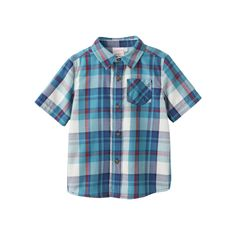 Baby Boy Jumping Beans® Plaid Flannel Short Sleeve Shirt, Size: 12 Months, Turquoise/Blue (Turq/Aqua)