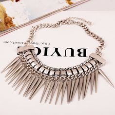 New-Fashion-Retro-Punk-Rivet-Crystal-Tassel-Pendant-Statement-Bib-Chain-Necklace