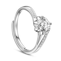 SWEETIEE&reg Sparkling Micro Pave Zirconia 925 Sterling Silver Finger Ring, Flower with White AAA Cubic Zirconia, PlatinumPSize: about 17mm inner diameter (Adjustable), flower: about 7mm in diameter; packing size: 53x53x37mm.