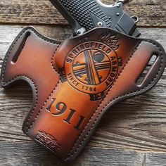 Pay tribute to the Springfield brand with this sleek holster. Handmade in the USA, this concealed carry holster can be molded to your particular gun model. Leather Concealed Carry Holsters, 1911 Leather Holster, 1911 Holster, Tactical Holster, Gun Holster, Sewing Leather, Leather Pattern, Leather Crafting, Custom Holsters
