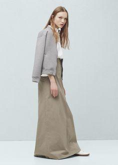 Pocket cotton-blend skirt | MANGO
