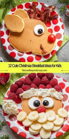 Help the kiddos count down the 12 days to Christmas by making a different breakfast each morning. Help the kiddos count down the 12 days to Christmas by making a different breakfast each morning. Christmas Brunch, Christmas Goodies, Christmas Fun, Christmas Pancakes, Santa Pancakes, Christmas Lunch Ideas, Kids Christmas Treats, Christmas Pasta, Christmas Dinners