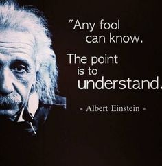 """Any fool can know. The point is to understand."" - Albert Einstein"