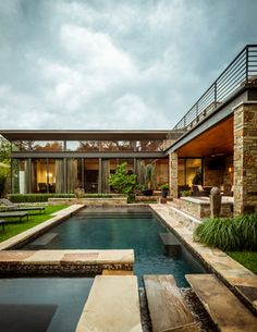 Contemporary Architectural Details Grounds Patio Pool Porch by Stocker Hoesterey Montenegro Architects Architecture Design, Contemporary Architecture, U Shaped Houses, Pool Porch, Contemporary Patio, Pool Houses, Pool Designs, Outdoor Pool, Outdoor Ideas