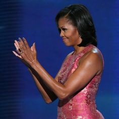 """Michelle Obama's nails on night 1 of the DNC Artistic Colour Gloss Soak Off Color Gel in """"Vogue."""""""