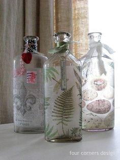 four corners design: decoupage art Diy Bottle, Wine Bottle Crafts, Bottle Art, Recycled Crafts, Handmade Crafts, Easy Crafts, Kombucha, Diy Wine Glasses, Mod Podge Crafts