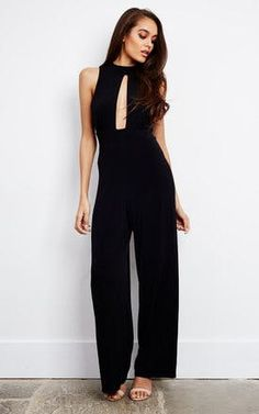Looking for Culotte Jumpsuits? Call off the search with our Sleeveless Wide Leg Keyhole Jumpsuit With Open Back In Black. Shop unique fashion at SilkFred Black Love, Back To Black, Unique Fashion, New Fashion, Black Jumpsuit Outfit, Striped Jumpsuit, Playsuits, Jumpsuits, Formal