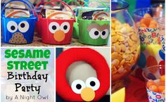 Adorable Sesame Street Birthday party from A Night Owl. I especially love the little buckets for party favors!