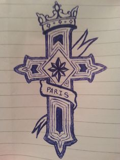 cross with ribbon and crown