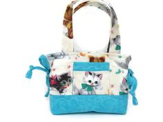 Kitty Girl Purse Cats Blue Little Girl Purse by JustBeautiful161
