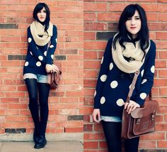 the polka dot sweater. Shorts With Tights, Sweater And Shorts, Casual Sweaters, Cute Sweaters, Oversized Sweaters, Dr. Martens, Dope Outfits, Fashion Outfits, Polka Dot Sweater