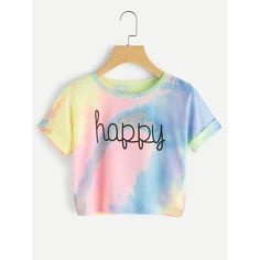 Happy Rainbow Pastel Tie Dye T Shirt,Women Letter Print Tee Beach to Bar Night Club Party Short Crop T shirts Summer Crop Tops, Cute Crop Tops, Cropped Tops, Kids Crop Tops, Mode Outfits, Casual Outfits, Summer Outfits, Summer Dresses, Tie Dye Crop Top