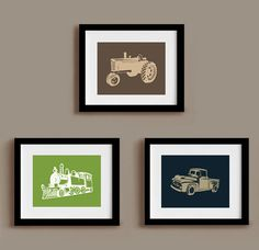 Transportation set of 3 prints - 8 x 10 - train tractor truck. $38.00, via Etsy.
