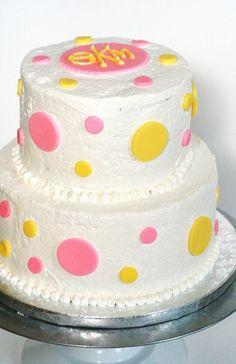 Pink and Yellow Polka Dot Cake. I like the monogram at the top