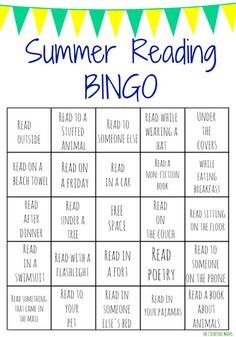 Summer Reading Bingo Challenge for Kids.  Get Your Kid Reading with these Free Printable Reading Bingo Boards!