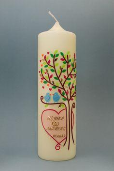 *Handverzierte Hochzeitskerze Modell Lebensbaum mit Vögelchen*