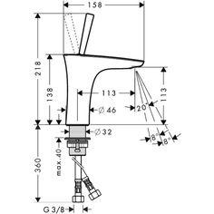 Dimensiones grifo de lavabo Puravida 110 http://edenhogar.com/es/griferia/hansgrohe-puravida-grifo-mezclador-lavabo-110-15070000.html