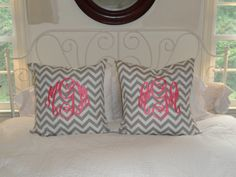 Custom Monogrammed Chevron Euro Shams