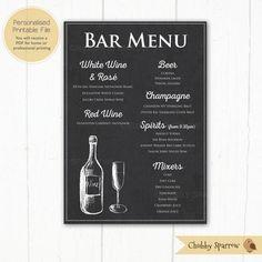Bar Drinks Menu Price List, Chalkboard Effect Sign, Wedding decor, Food menu, Printable, Rustic, Rom Drink Menu, Bar Drinks, Spiced Rum Mixers, White Wine, Red Wine, Menu Pdf, Rose Champagne, Bar Menu, Rustic Cake