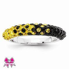 Black & Gold Team Color Swarovski Crystal Sterling Silver Thin Ring