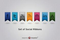 Set of Social Ribbons
