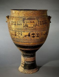 Retrieved 9/5/14 Terracotta krater | Greek, Attic | GeometricbyAttributed to the Hirschfeld Workshop ca. 750–735 B.C. http://www.metmuseum.org/collection/the-collection-online/search/248904
