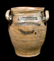 J. REMMEY / MANHATTAN-WELLS / NEW-YORK Antique Stoneware Jar