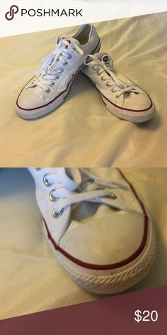 Converse Shoes Men's 9 or Ladies 11 white converse. Worn a few times. A little scuffing on the toes. Look at 2nd picture. Converse Shoes Sneakers