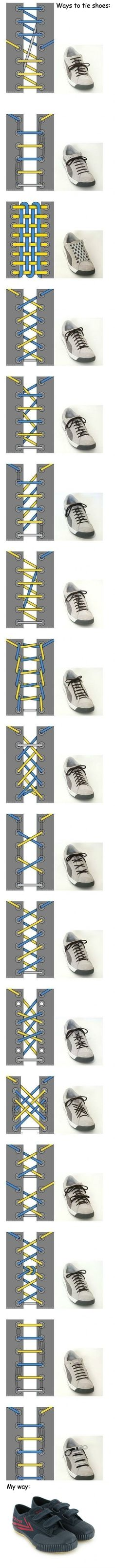 Several ways to tie shoes. i like the top ones.... but soo much effort.
