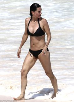 Beach babe: Courteney Cox looked fantastic as she enjoyed a vacation in the Bahamas earlier this week