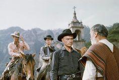 Yul Brynner, Steve McQueen, Horst Buchholz, and Vladamir Sokoloff in The Magnificent Seven 1960