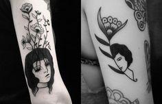 Inspirada pela poesia, surrealismo e pelo sombrio, Muriel de Mai cria incríveis tatuagens de mulheres melancólicas, sempre usando tinta vegana. Confira!
