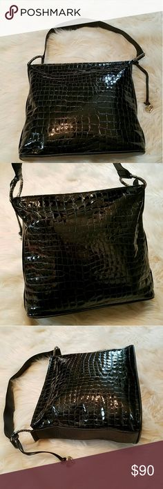 Beautiful BRIGHTON Patent Croc Cher Bag Ohh Soo Pretty & Great to wear Everyday! Shiny Patent Croc embossed Cher Bag with Bold Hardware! Pre-owned in Great Condition! No rips, tears, holes, stains, all piping intact, all stitching strong.  Authentic of course! Brighton Bags