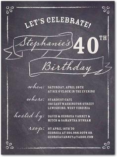 Adult Birthday Party Invitations Chalkboard List - Front : Dark Gray