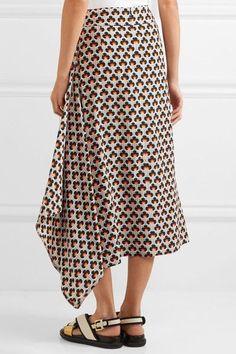 Marni   Asymmetric printed silk-crepe midi skirt   NET-A-PORTER.COM