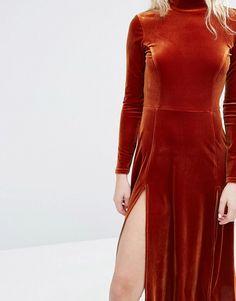 ASOS | ASOS High Neck Velvet Long Sleeve Midi with Front Splices