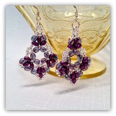 Pearls and Lace Beaded Earrings Purple & by BeadifulSisters