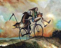 """Joyride to Nettles Summit"" by Esao Andrews. Oil on wood, 16 x 20 inches. Courtesy Roq la Rue."